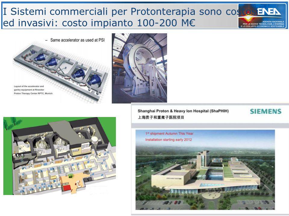 9 I Sistemi commerciali per Protonterapia sono costosi ed invasivi: costo impianto 100-200 M