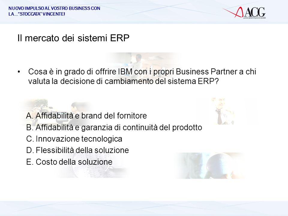 NUOVO IMPULSO AL VOSTRO BUSINESS CON LA…STOCCATA VINCENTE! Il mercato dei sistemi ERP Cosa è in grado di offrire IBM con i propri Business Partner a c