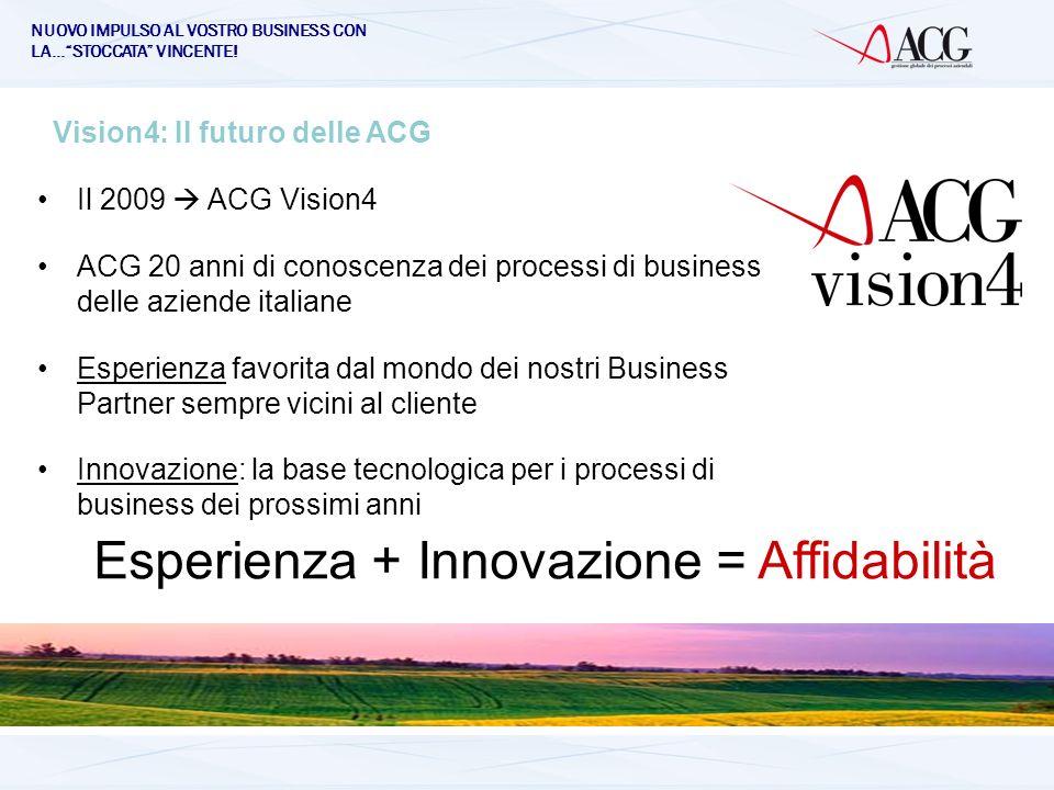 NUOVO IMPULSO AL VOSTRO BUSINESS CON LA…STOCCATA VINCENTE! Vision4: Il futuro delle ACG Il 2009 ACG Vision4 ACG 20 anni di conoscenza dei processi di