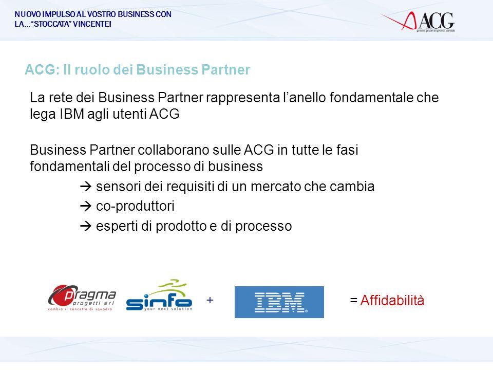 NUOVO IMPULSO AL VOSTRO BUSINESS CON LA…STOCCATA VINCENTE! ACG: Il ruolo dei Business Partner + = Affidabilità La rete dei Business Partner rappresent