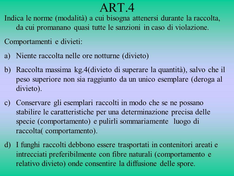 ART.4 Indica le norme (modalità) a cui bisogna attenersi durante la raccolta, da cui promanano quasi tutte le sanzioni in caso di violazione. Comporta