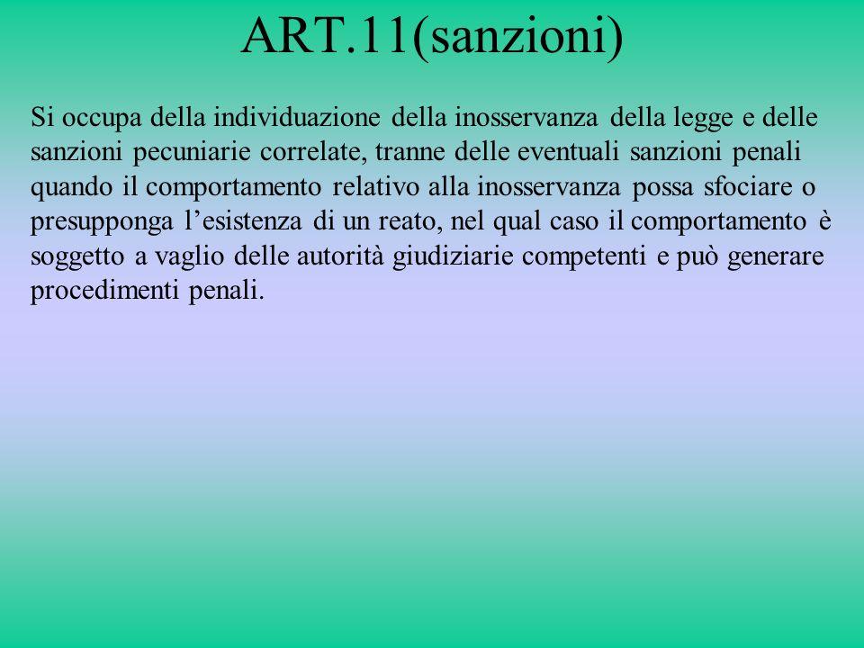 ART.11(sanzioni) Si occupa della individuazione della inosservanza della legge e delle sanzioni pecuniarie correlate, tranne delle eventuali sanzioni