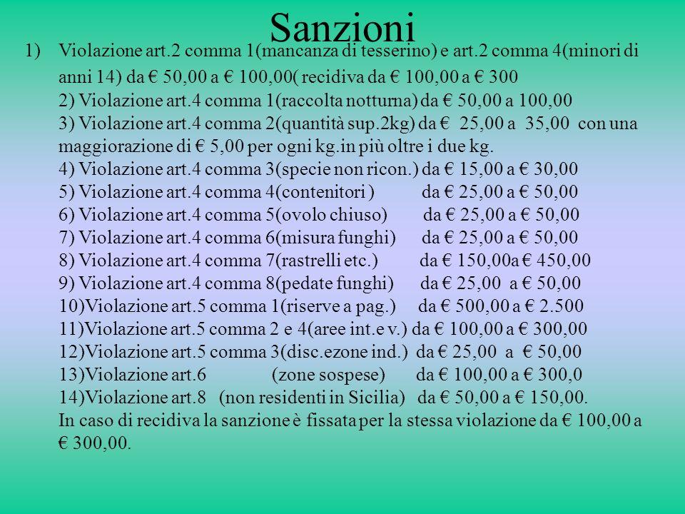 Sanzioni 1)Violazione art.2 comma 1(mancanza di tesserino) e art.2 comma 4(minori di anni 14) da 50,00 a 100,00( recidiva da 100,00 a 300 2) Violazion