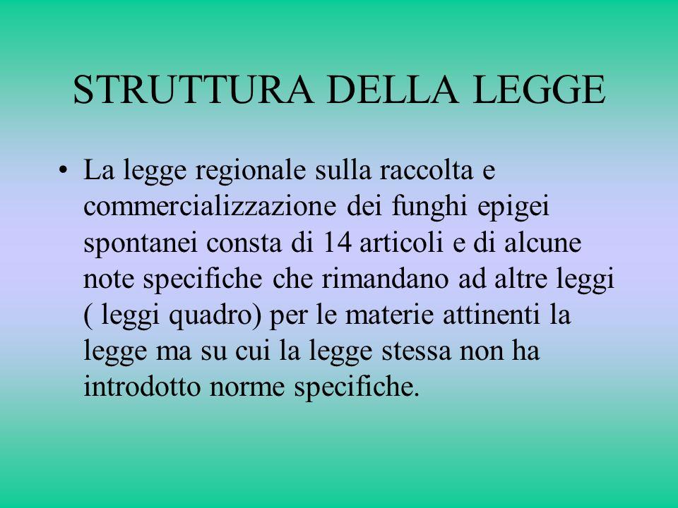 STRUTTURA DELLA LEGGE La legge regionale sulla raccolta e commercializzazione dei funghi epigei spontanei consta di 14 articoli e di alcune note speci