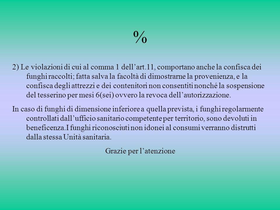 % 2) Le violazioni di cui al comma 1 dellart.11, comportano anche la confisca dei funghi raccolti; fatta salva la facoltà di dimostrarne la provenienz