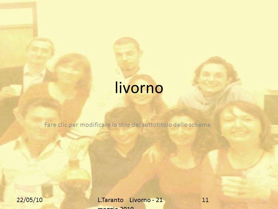 Fare clic per modificare lo stile del sottotitolo dello schema 22/05/10L.Taranto Livorno - 21 maggio 2010 livorno 11L.Taranto Livorno - 21 maggio 2010