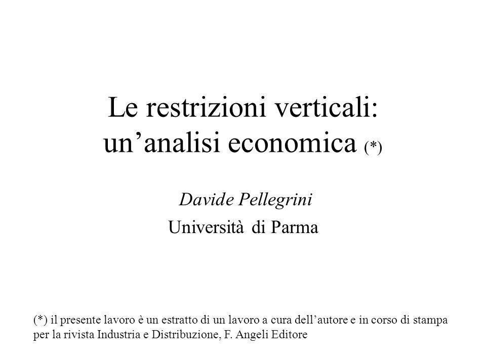 Le restrizioni verticali: unanalisi economica (*) Davide Pellegrini Università di Parma (*) il presente lavoro è un estratto di un lavoro a cura della