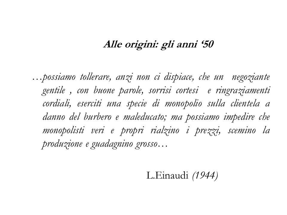 Alle origini: gli anni 50 …possiamo tollerare, anzi non ci dispiace, che un negoziante gentile, con buone parole, sorrisi cortesi e ringraziamenti cor