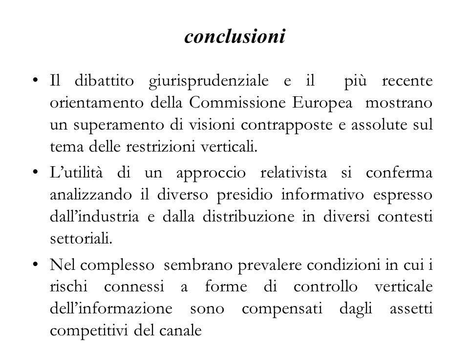 conclusioni Il dibattito giurisprudenziale e il più recente orientamento della Commissione Europea mostrano un superamento di visioni contrapposte e a