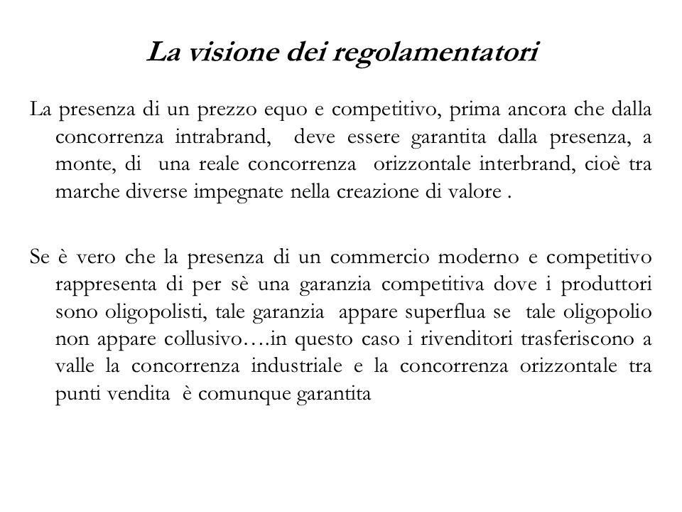 La presenza di un prezzo equo e competitivo, prima ancora che dalla concorrenza intrabrand, deve essere garantita dalla presenza, a monte, di una real