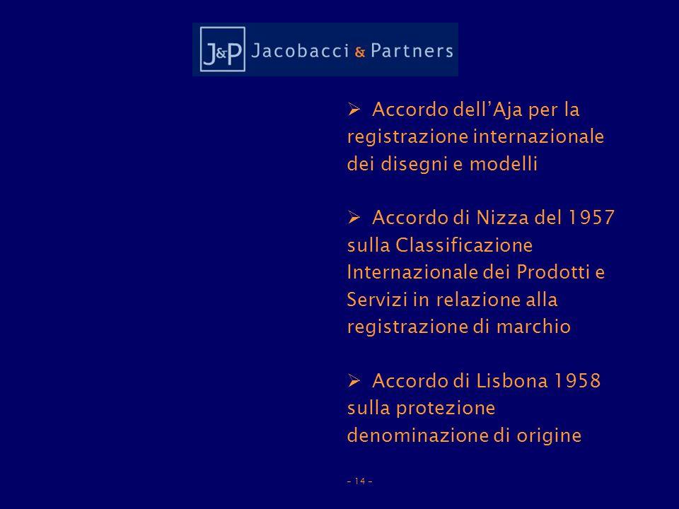 Accordo dellAja per la registrazione internazionale dei disegni e modelli Accordo di Nizza del 1957 sulla Classificazione Internazionale dei Prodotti e Servizi in relazione alla registrazione di marchio Accordo di Lisbona 1958 sulla protezione denominazione di origine - 14 -