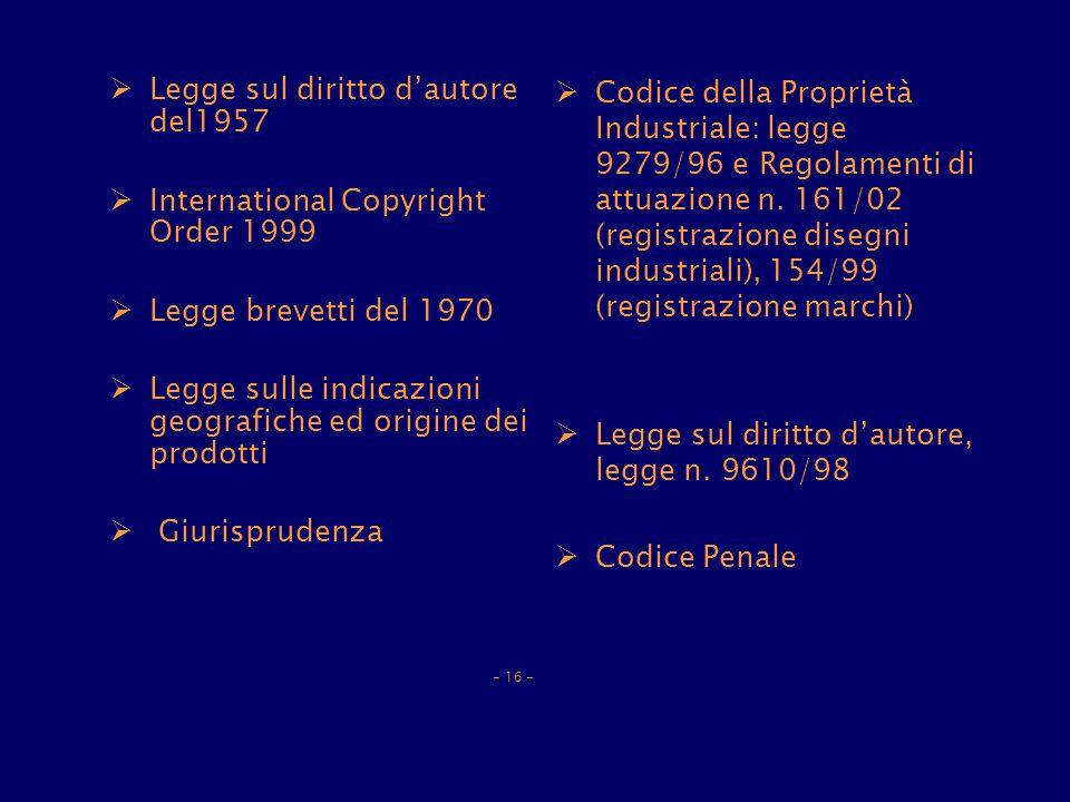 Legge sul diritto dautore del1957 International Copyright Order 1999 Legge brevetti del 1970 Legge sulle indicazioni geografiche ed origine dei prodotti Giurisprudenza - 16 - Codice della Proprietà Industriale: legge 9279/96 e Regolamenti di attuazione n.