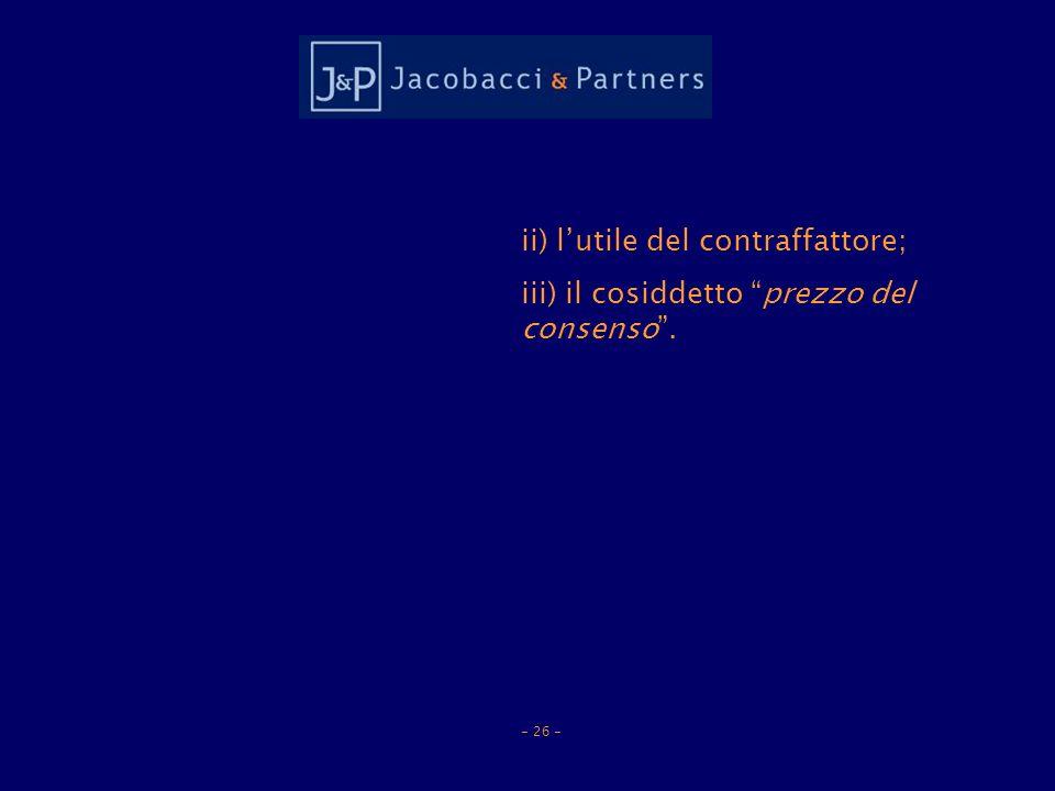 ii) lutile del contraffattore; iii) il cosiddetto prezzo del consenso. - 26 -