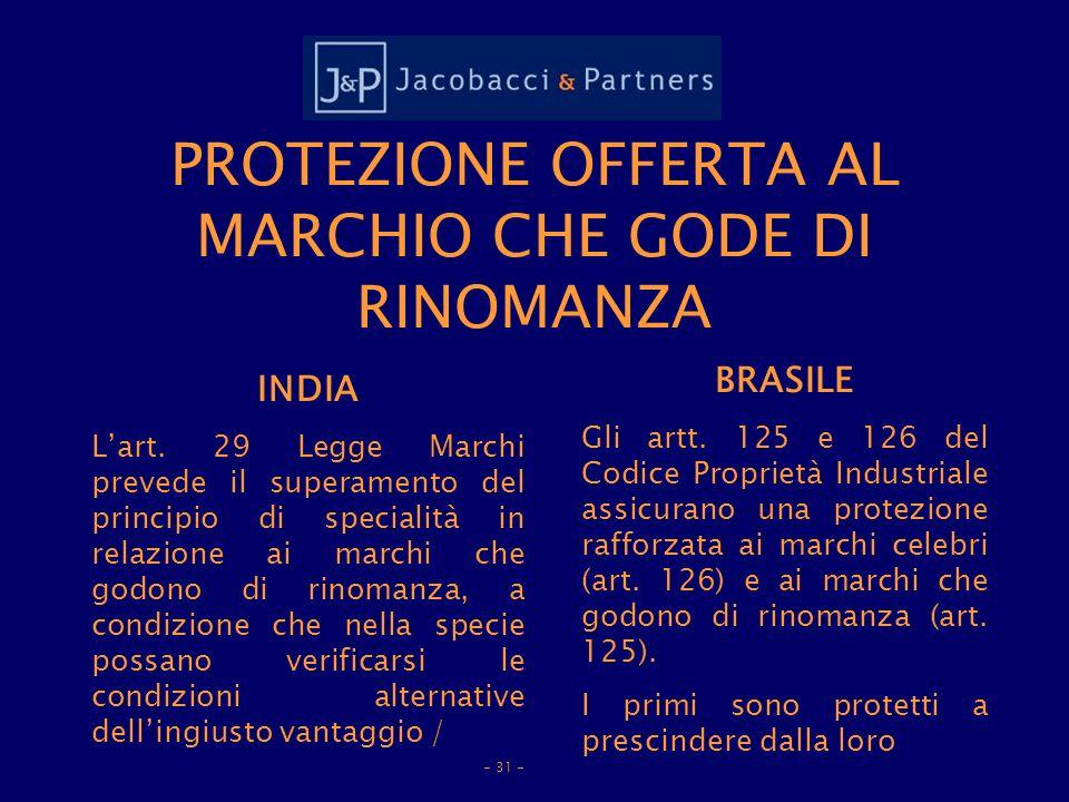 PROTEZIONE OFFERTA AL MARCHIO CHE GODE DI RINOMANZA INDIA Lart.