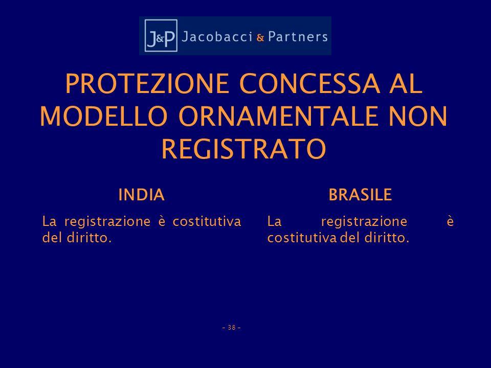 PROTEZIONE CONCESSA AL MODELLO ORNAMENTALE NON REGISTRATO INDIA La registrazione è costitutiva del diritto.