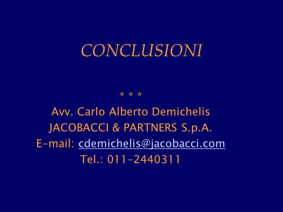 CONCLUSIONI * * * Avv. Carlo Alberto Demichelis JACOBACCI & PARTNERS S.p.A.
