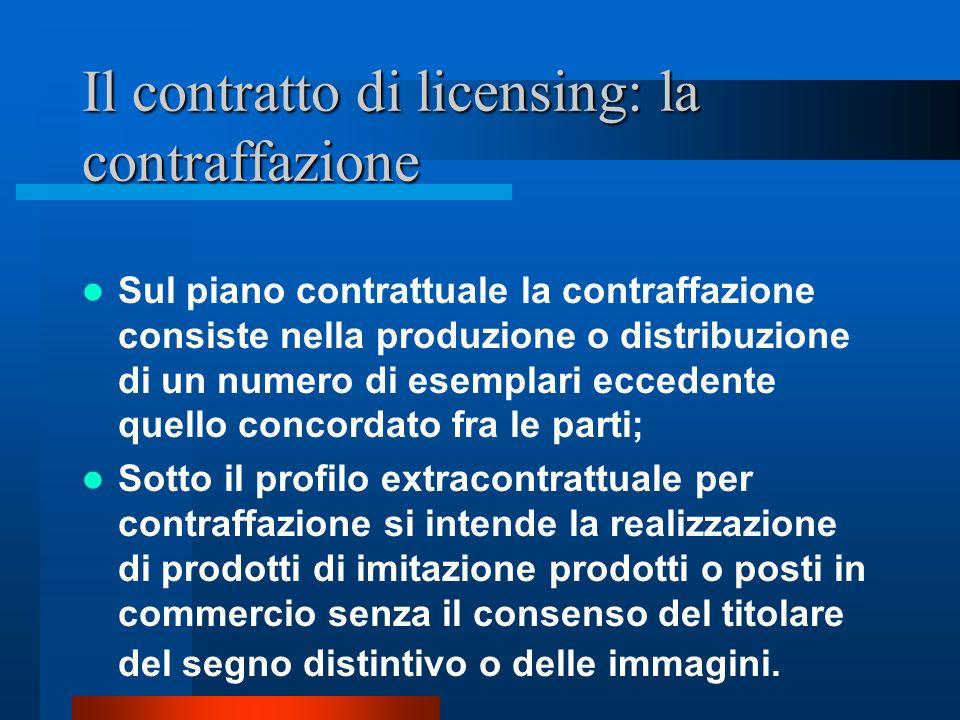 Il contratto di licensing: la contraffazione La realizzazione o la vendita di prodotti oggetto della licenza al di fuori del controllo del licenziante può essere causa di risoluzione automatica del contratto inter partes e fonte di risarcimento del danno.