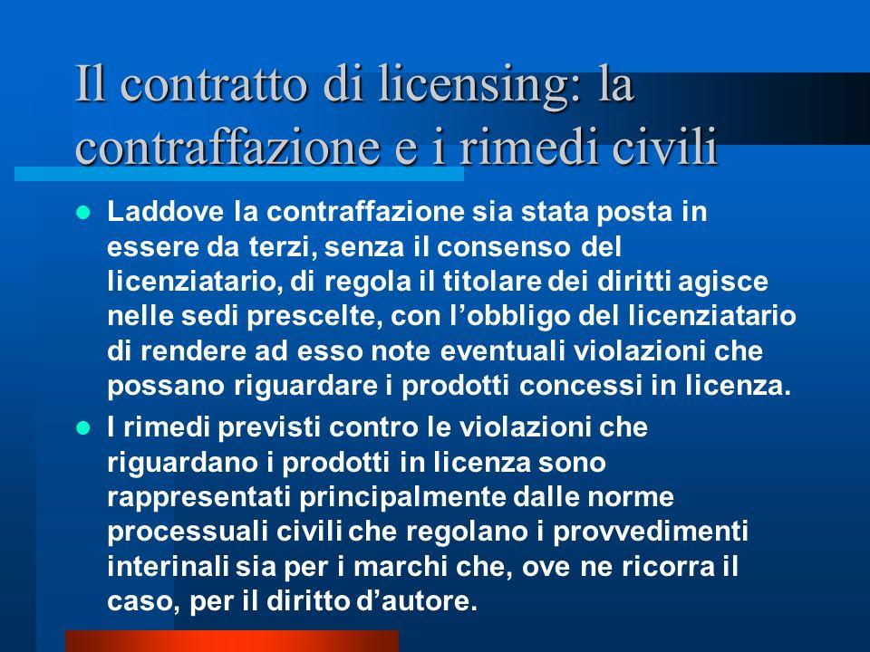 Il contratto di licensing: la contraffazione e i rimedi civili I provvedimenti che possono essere chiesti al giudice competente sono linibitoria di cui allart.