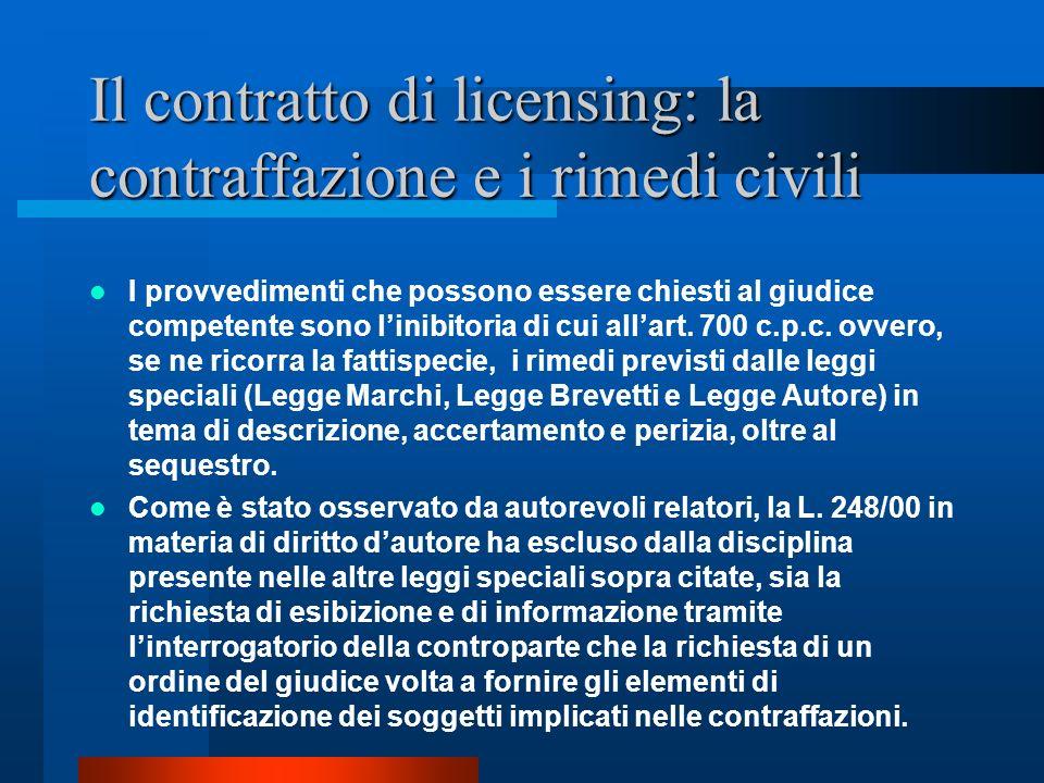 Il contratto di licensing: la contraffazione e i rimedi civili I provvedimenti che possono essere chiesti al giudice competente sono linibitoria di cu