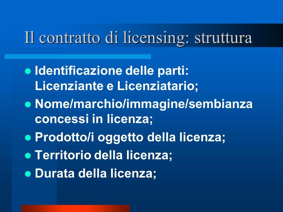 Il contratto di licensing: struttura segue Corrispettivo (composto da: M.G.