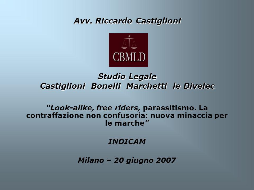 Look-alike, free riders, parassitismo. La contraffazione non confusoria: nuova minaccia per le marche INDICAM Milano – 20 giugno 2007 Avv. Riccardo Ca
