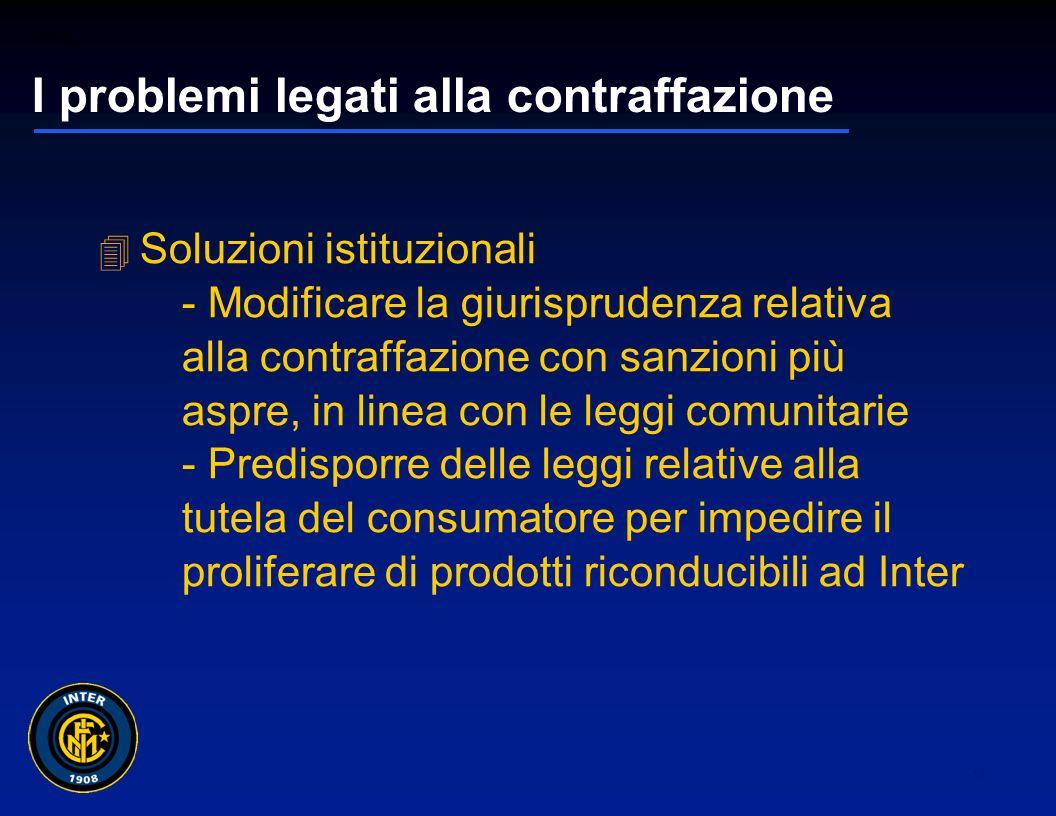 01265sc_97 12 I problemi legati alla contraffazione Soluzioni societarie - promozione di un ologramma di certificazione di autenticità dei prodotti - copertura estensiva dei diritti e dei marchi societari - campagne pubblicitarie di informazione del consumatore