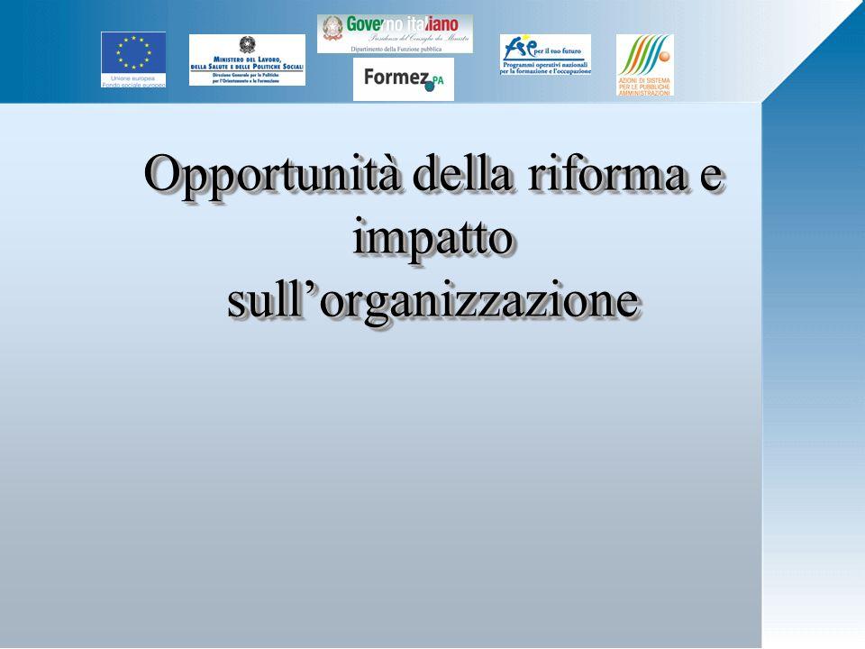 Opportunità della riforma e impatto sullorganizzazione