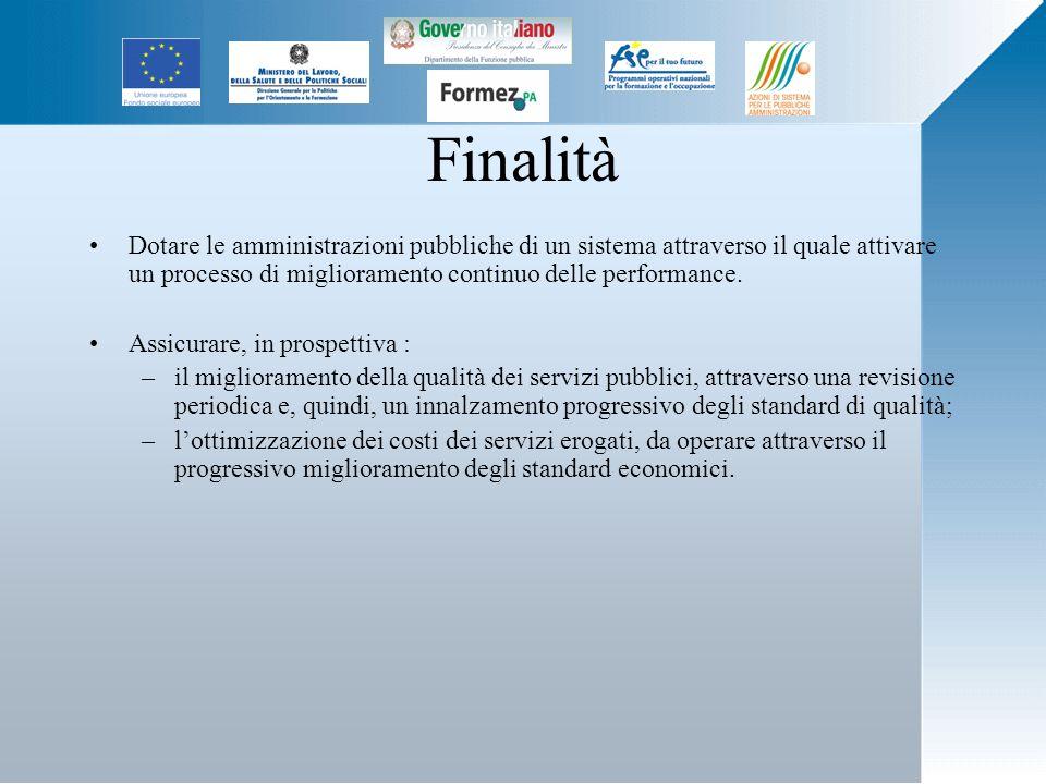 Finalità Dotare le amministrazioni pubbliche di un sistema attraverso il quale attivare un processo di miglioramento continuo delle performance.