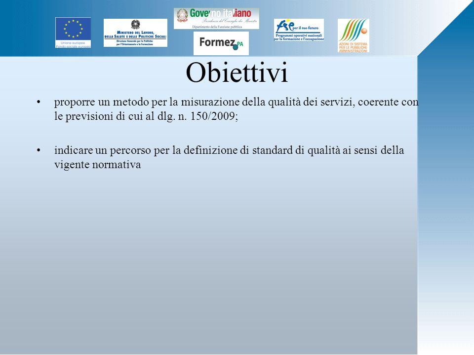 Obiettivi proporre un metodo per la misurazione della qualità dei servizi, coerente con le previsioni di cui al dlg.