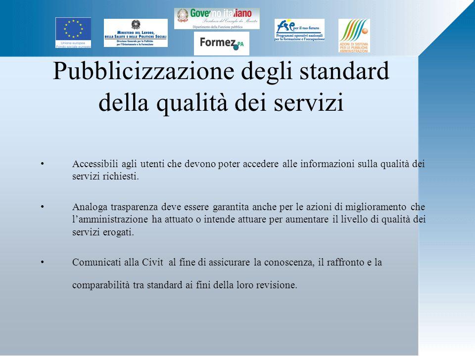 Pubblicizzazione degli standard della qualità dei servizi Accessibili agli utenti che devono poter accedere alle informazioni sulla qualità dei servizi richiesti.