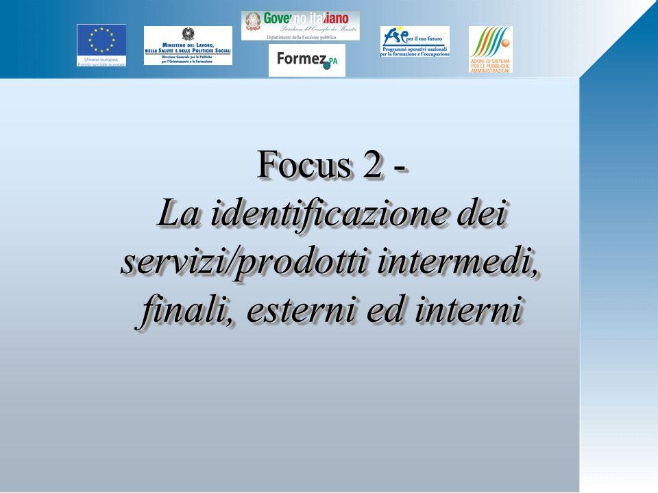Focus 2 - La identificazione dei servizi/prodotti intermedi, finali, esterni ed interni