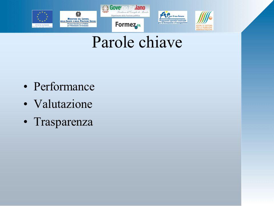 Parole chiave Performance Valutazione Trasparenza