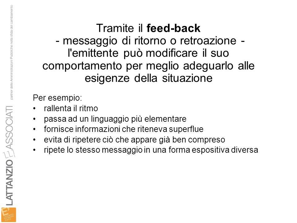 Tramite il feed-back - messaggio di ritorno o retroazione - l'emittente può modificare il suo comportamento per meglio adeguarlo alle esigenze della s