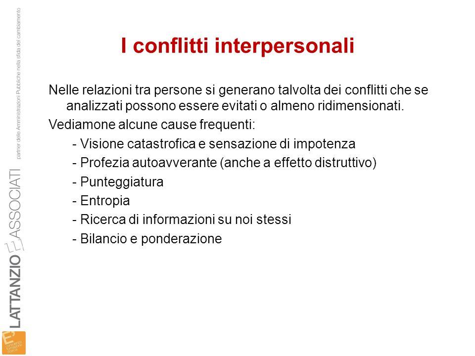 I conflitti interpersonali Nelle relazioni tra persone si generano talvolta dei conflitti che se analizzati possono essere evitati o almeno ridimensio