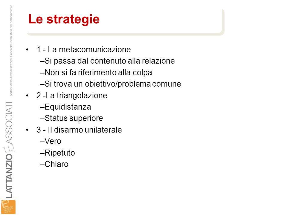 1 - La metacomunicazione –Si passa dal contenuto alla relazione –Non si fa riferimento alla colpa –Si trova un obiettivo/problema comune 2 -La triango