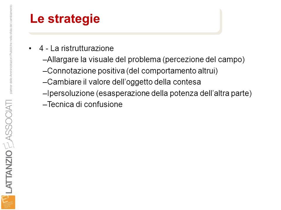 4 - La ristrutturazione –Allargare la visuale del problema (percezione del campo) –Connotazione positiva (del comportamento altrui) –Cambiare il valor