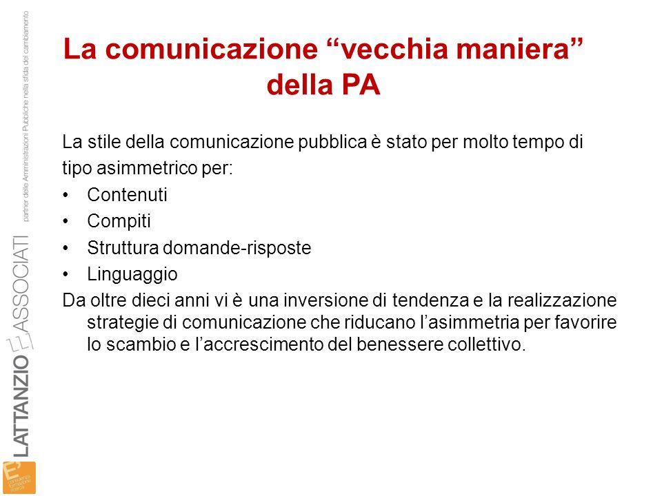 La comunicazione vecchia maniera della PA La stile della comunicazione pubblica è stato per molto tempo di tipo asimmetrico per: Contenuti Compiti Str