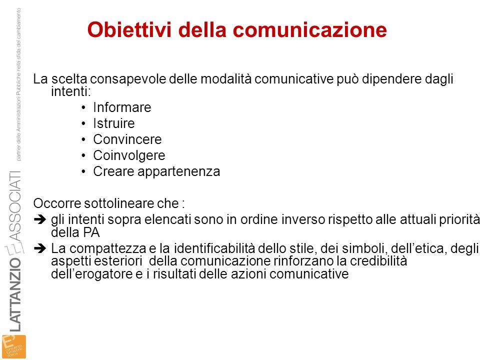 Obiettivi della comunicazione La scelta consapevole delle modalità comunicative può dipendere dagli intenti: Informare Istruire Convincere Coinvolgere