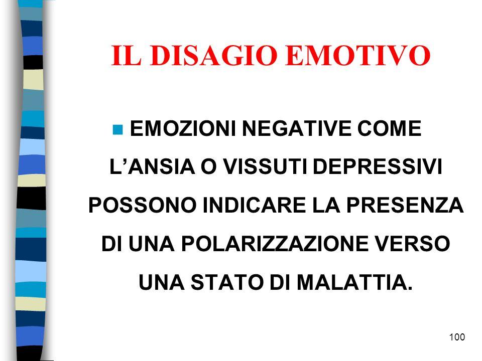 IL DISAGIO EMOTIVO EMOZIONI NEGATIVE COME LANSIA O VISSUTI DEPRESSIVI POSSONO INDICARE LA PRESENZA DI UNA POLARIZZAZIONE VERSO UNA STATO DI MALATTIA.