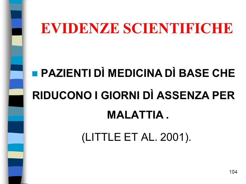 PAZIENTI DÌ MEDICINA DÌ BASE CHE RIDUCONO I GIORNI DÌ ASSENZA PER MALATTIA. (LITTLE ET AL. 2001). 104 EVIDENZE SCIENTIFICHE