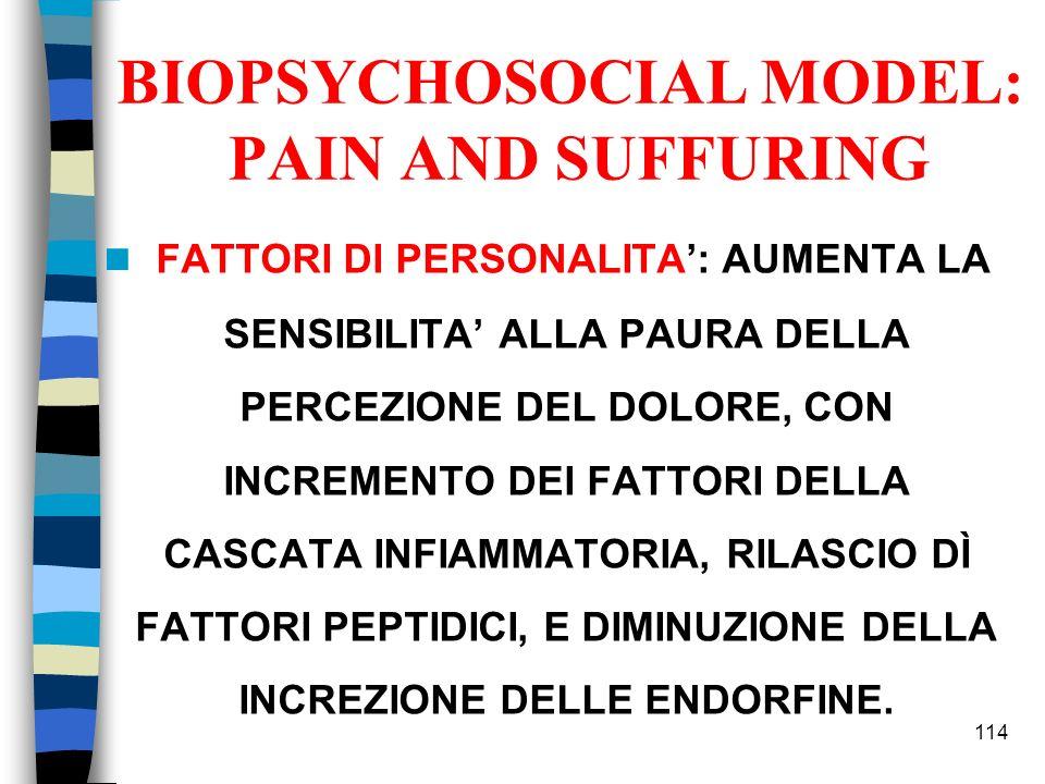 BIOPSYCHOSOCIAL MODEL: PAIN AND SUFFURING FATTORI DI PERSONALITA: AUMENTA LA SENSIBILITA ALLA PAURA DELLA PERCEZIONE DEL DOLORE, CON INCREMENTO DEI FA