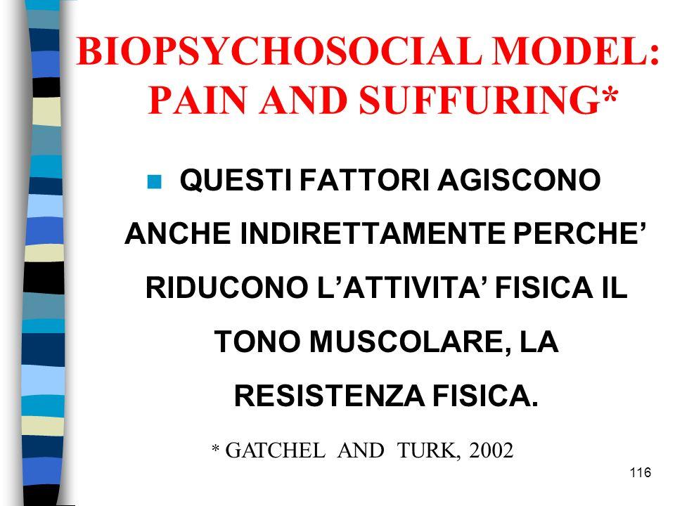 QUESTI FATTORI AGISCONO ANCHE INDIRETTAMENTE PERCHE RIDUCONO LATTIVITA FISICA IL TONO MUSCOLARE, LA RESISTENZA FISICA. 116 BIOPSYCHOSOCIAL MODEL: PAIN