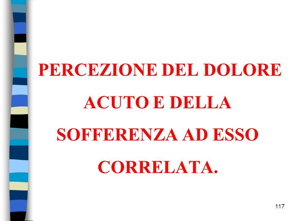 117 PERCEZIONE DEL DOLORE ACUTO E DELLA SOFFERENZA AD ESSO CORRELATA.