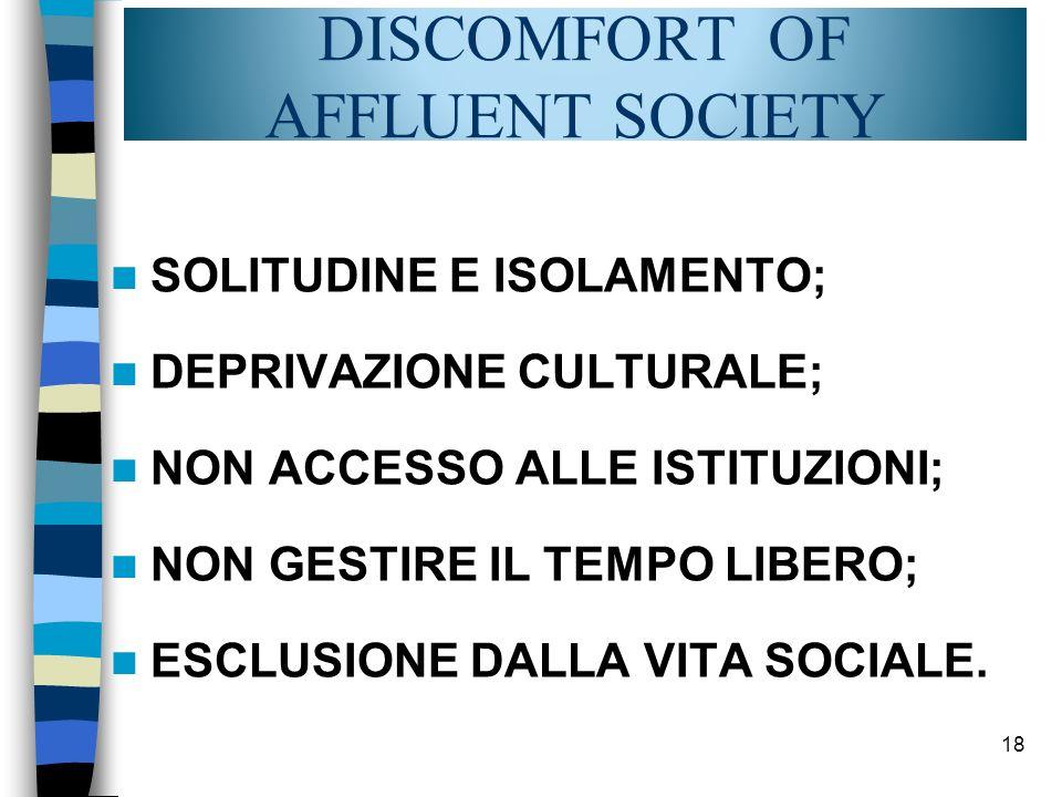 SOLITUDINE E ISOLAMENTO; DEPRIVAZIONE CULTURALE; NON ACCESSO ALLE ISTITUZIONI; NON GESTIRE IL TEMPO LIBERO; ESCLUSIONE DALLA VITA SOCIALE. 18 DISCOMFO