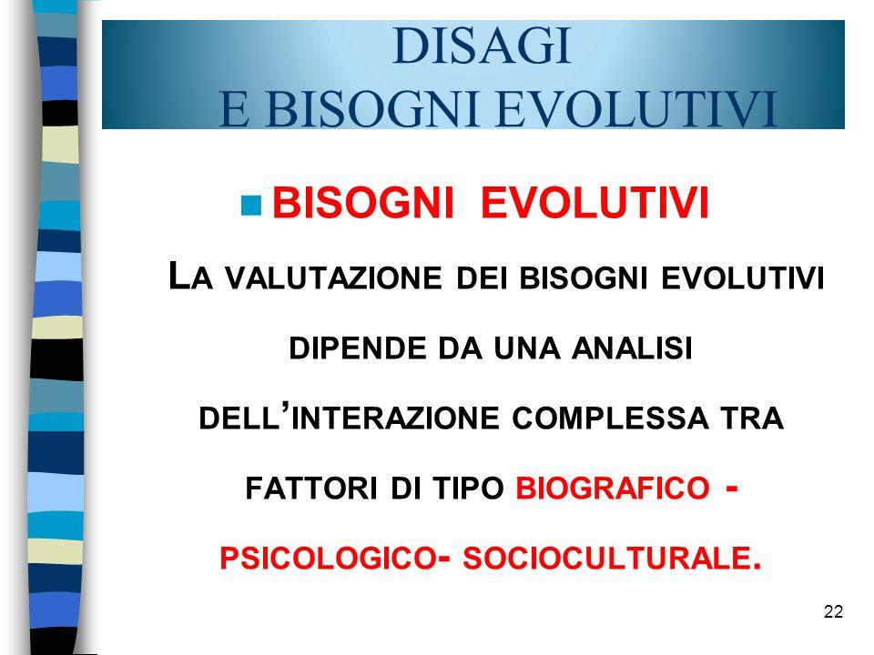22 DISAGI E BISOGNI EVOLUTIVI BISOGNI EVOLUTIVI L A VALUTAZIONE DEI BISOGNI EVOLUTIVI DIPENDE DA UNA ANALISI DELL INTERAZIONE COMPLESSA TRA FATTORI DI