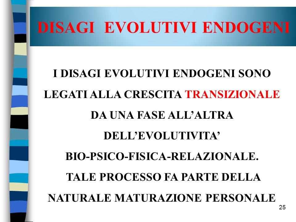 25 DISAGI EVOLUTIVI ENDOGENI I DISAGI EVOLUTIVI ENDOGENI SONO LEGATI ALLA CRESCITA TRANSIZIONALE DA UNA FASE ALLALTRA DELLEVOLUTIVITA BIO-PSICO-FISICA