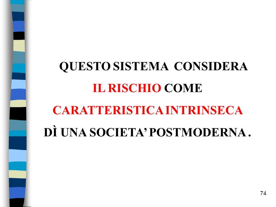 74 QUESTO SISTEMA CONSIDERA IL RISCHIO COME CARATTERISTICA INTRINSECA DÌ UNA SOCIETA POSTMODERNA.
