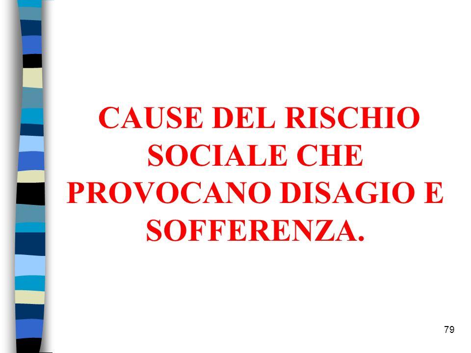 CAUSE DEL RISCHIO SOCIALE CHE PROVOCANO DISAGIO E SOFFERENZA. 79