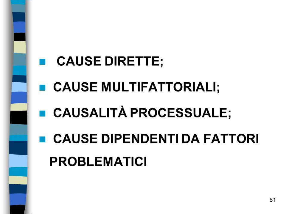 CAUSE DIRETTE; CAUSE MULTIFATTORIALI; CAUSALITÀ PROCESSUALE; CAUSE DIPENDENTI DA FATTORI PROBLEMATICI 81
