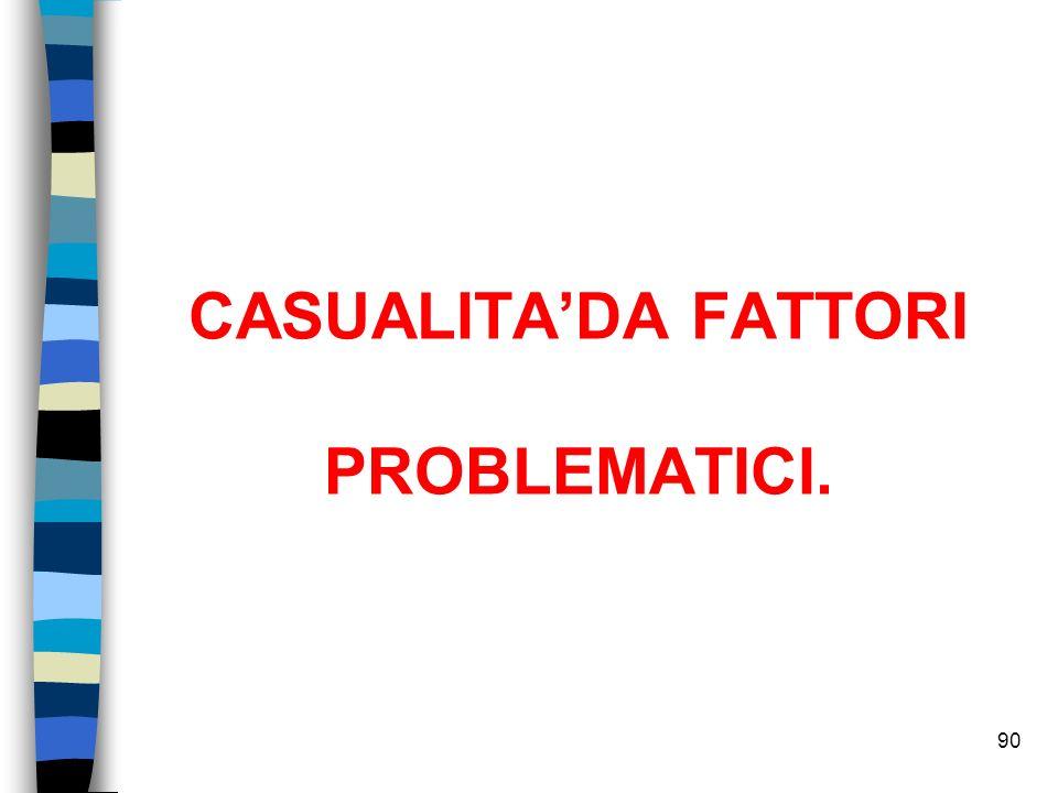 CASUALITADA FATTORI PROBLEMATICI. 90